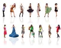 Inzameling van een mooie vrouwenfoto's op wit Royalty-vrije Stock Fotografie