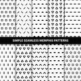 Inzameling van eenvoudige naadloze geometrische patronen Royalty-vrije Stock Afbeelding