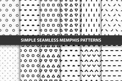 Inzameling van eenvoudige naadloze geometrische patronen Het ontwerp van Memphis Stock Foto