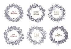 Inzameling van elegante hand getrokken kronen of cirkeldieslingers van ineengestrengelde bloemen, takken en bladeren worden gemaa stock illustratie
