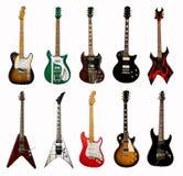 Inzameling van elektrische gitaren Stock Fotografie