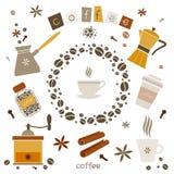 Inzameling van elementen van het koffie de vectorontwerp Royalty-vrije Stock Afbeeldingen