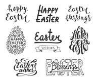 Inzameling van elementen van het de typografieontwerp van Pasen de vector voor groetkaarten, uitnodiging, bekledingen, drukken en Stock Fotografie