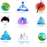 Inzameling van embleem Zen royalty-vrije illustratie