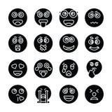 Inzameling van Emojis de Stevige Vectorpictogrammen royalty-vrije illustratie