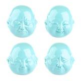 Inzameling van emoties Vier meningen van turkoois hoofdbeeldje Stock Afbeeldingen