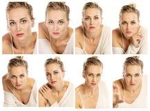 Inzameling van emotionele portretten van een mooie vrouw stock foto's