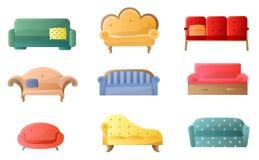 Inzameling van in en comfortabele bank op wit royalty-vrije illustratie