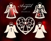 Inzameling van engelen Het ontwerp van de laserbesnoeiing voor Kerstmis, de dag van Valentine, huwelijk Een reeks van de besnoeii stock illustratie