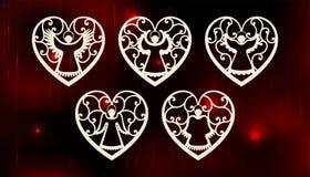 Inzameling van engelen Het ontwerp van de laserbesnoeiing voor Kerstmis, de dag van Valentine, huwelijk Een reeks van de besnoeii vector illustratie