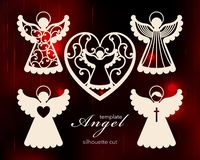 Inzameling van engelen Het ontwerp van de laserbesnoeiing voor Kerstmis, de dag van Valentine, huwelijk Een reeks van de besnoeii royalty-vrije illustratie