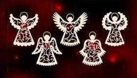 Inzameling van engelen Het ontwerp van de laserbesnoeiing voor Kerstmis, de dag van Valentine, Pasen, huwelijk Een reeks van malp royalty-vrije illustratie