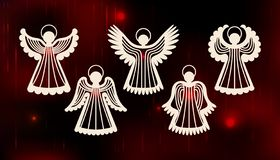 Inzameling van engelen Het ontwerp van de laserbesnoeiing voor Kerstmis, de dag van Valentine, Pasen, huwelijk Een reeks van malp stock illustratie