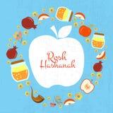 Inzameling van etiketten en elementen voor Rosh Hashanah (Joodse Nieuw vector illustratie