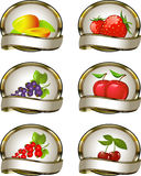 Inzameling van etiketten voor fruitproducten vector illustratie