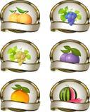 Inzameling van etiketten voor fruitproducten Royalty-vrije Stock Foto's