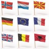 Inzameling van Europese vlaggen Stock Afbeelding
