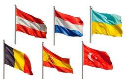 Inzameling van Europese vlaggen Stock Foto