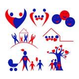 Inzameling van familie, liefde, kinderenpictogrammen, embleem Royalty-vrije Stock Afbeeldingen