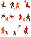 Inzameling van familiepictogrammen en emblemen vector illustratie
