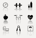 Inzameling van fitness, sportpictogrammen Stock Fotografie