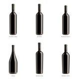 Inzameling van flessen rode wijn Royalty-vrije Stock Afbeeldingen