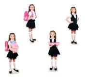 Inzameling van foto's die schoolmeisje in eenvormig met rugzak glimlachen royalty-vrije stock afbeeldingen