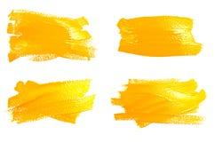 Inzameling van foto's gele slagen van de verfborstel royalty-vrije stock foto's