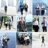 Inzameling van foto's met veel zakenlui Stock Afbeeldingen