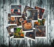 Inzameling van foto's van voedsel in een retro stijl Stock Afbeelding