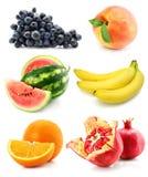 Inzameling van fruit die op wit wordt geïsoleerdg royalty-vrije stock foto's