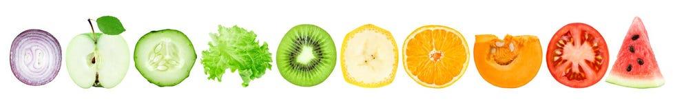Inzameling van fruit en plantaardige plakken royalty-vrije illustratie