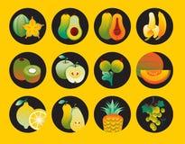 Inzameling van fruitpictogrammen Stock Foto
