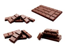 Inzameling van geïsoleerde de barsstapel van de foto's donkere melkchocola stock afbeelding