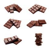 Inzameling van geïsoleerde de barsstapel van de foto's donkere melkchocola royalty-vrije stock afbeelding