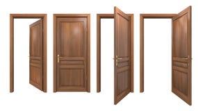 Inzameling van geïsoleerde houten deuren Royalty-vrije Stock Afbeelding