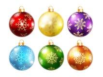 Inzameling van geïsoleerde Kerstmisballen Royalty-vrije Stock Afbeelding
