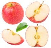 Inzameling van geïsoleerde rode appelstukken Royalty-vrije Stock Foto's
