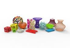 Inzameling van gekleurde complexe typische 3D drukproducten royalty-vrije illustratie