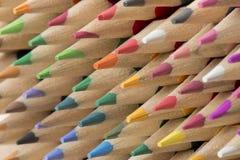 Inzameling van gekleurde houten potloden Royalty-vrije Stock Afbeeldingen