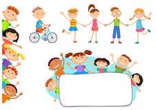 Inzameling van gelukkige kinderen in verschillende posities Royalty-vrije Stock Afbeeldingen