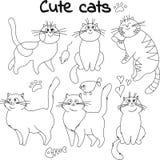 Inzameling van geschetste katten Stock Afbeelding