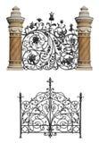 Inzameling van gesmede poort en decoratief rooster Royalty-vrije Stock Afbeelding