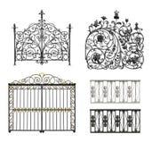 Inzameling van gesmede poorten en decoratief rooster Royalty-vrije Stock Fotografie