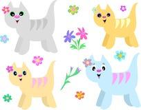 Inzameling van Gestreepte Katten en Bloemen Stock Foto's