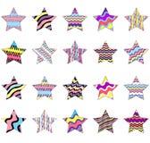 Inzameling van gestreepte sterren die in regenboogkleuren worden geschilderd die op witte achtergrond worden ge?soleerd royalty-vrije illustratie