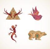 Inzameling van gevormde Boheemse, Stammenvoorwerpen vector illustratie