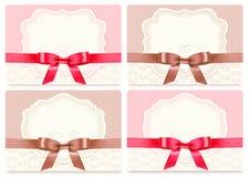 Inzameling van giftkaarten met linten. Stock Afbeeldingen