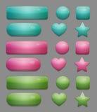 Inzameling van glanzende veelkleurige glasapp knopen Stock Foto