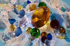 Inzameling van glasgemmen Stock Fotografie